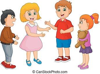 caricatura, feliz, crianças, falando, isolado, branco, fundo