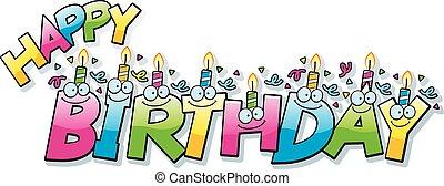 caricatura, feliz cumpleaños, texto