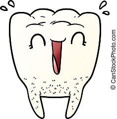 caricatura, feliz, dente