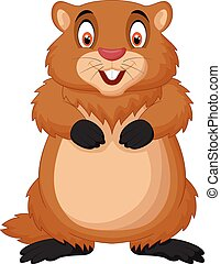 caricatura, feliz, marmota