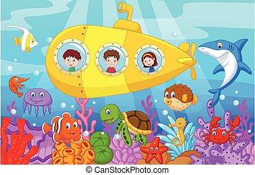caricatura, feliz, niños, submarino