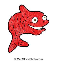 caricatura, feliz, pez