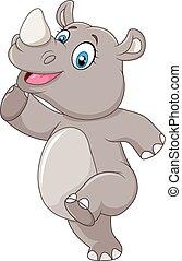 caricatura, feliz, posar, aislado, rinoceronte