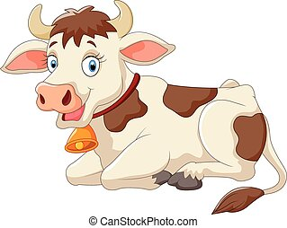 caricatura, feliz, vaca