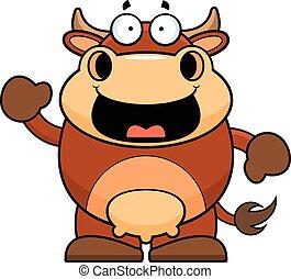 caricatura, feliz, vaca, marrom