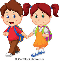 caricatura, feliz, venga, ba, niños