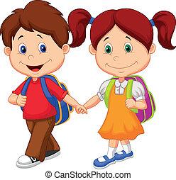 caricatura, feliz, venha, ba, crianças