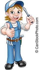 caricatura, femininas, eletricista, segurando, chave fenda