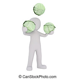 caricatura, figura, malabarismo, cabezas, de, col verde