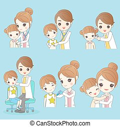 caricatura, filhos jovens, com, doutor