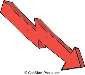 caricatura, flecha, abajo, tendencia