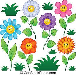 caricatura, flores, colección, 1