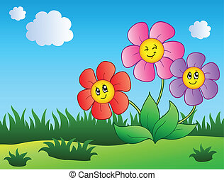 caricatura, flores, prado, três