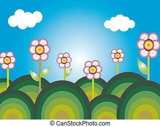 caricatura, flores