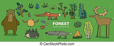caricatura, floresta, animal, caráteres, collection., mão, afogar-se, apartamento, vetorial, illustration., pássaro, ouriço, lobo, raposa, castor, urso, alces, com, árvores vidoeiro, e, plantas