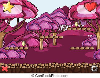 caricatura, floresta, paisagem, seamless