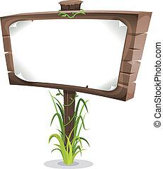 caricatura, floresta, sinal madeira