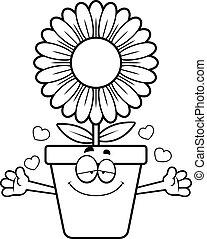caricatura, flowerpot, abraço