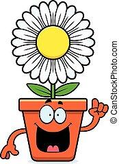 caricatura, flowerpot, idéia