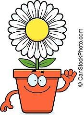 caricatura, flowerpot, waving