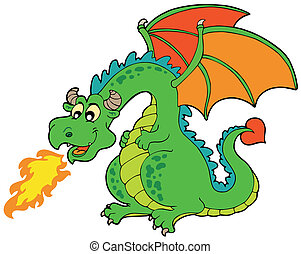 caricatura, fogo, dragão