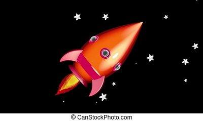 caricatura, foguete espacial, mover-se dentro, a