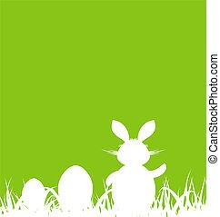 caricatura, fondo verde, con, conejo pascua, y, huevos