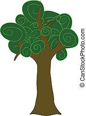 caricatura, fornido, remolino, árbol