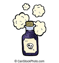 caricatura, frasco, de, veneno