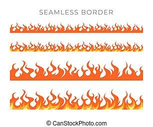 caricatura, fronteras, llama, vector, estilo, conjunto