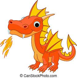 caricatura, fuego, dragón