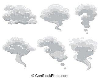 caricatura, fumar, nubes, y, cómico, cúmulo, vector,...