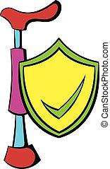 caricatura, garrapata, protector, icono, Muleta