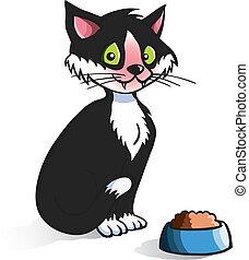caricatura, gato, con, alimento, tazón