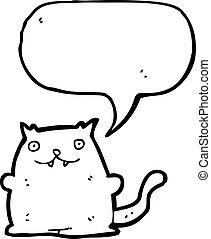 caricatura, gato gordo