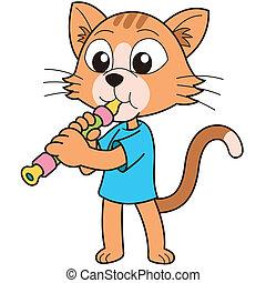caricatura, gato, tocando, oboe