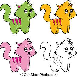 caricatura, gatos, cute