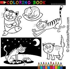 caricatura, gatos, para, libro colorear, o, página