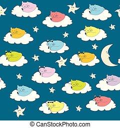caricatura, gatos, seamless, plano de fondo, sueño