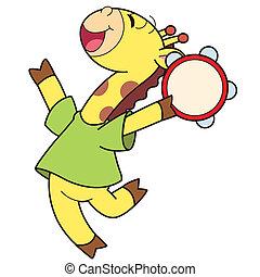 caricatura, girafa, tocando, um, tambourine