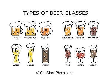 caricatura, golpe, anteojos de cerveza, colorido, tipos, ...