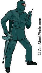 caricatura, golpe fuerte, miembro, con, un, arma de fuego