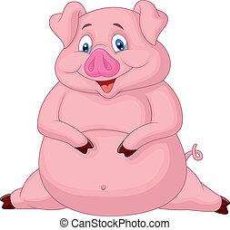 caricatura, gorda, porca