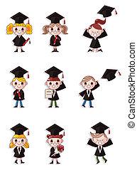 caricatura, graduado, estudiantes, iconos, conjunto