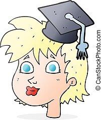 caricatura, graduado, mujer