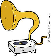 caricatura, gramophone