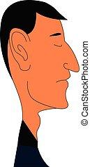 caricatura, grande, illustrazione, fondo., vettore, bianco, orecchio, uomo