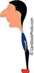 caricatura, grande, illustrazione, fondo., vettore, naso,...
