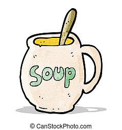caricatura, grande, sopa, assalte