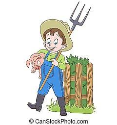 caricatura, granjero, cerdo